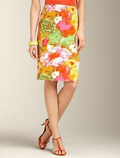 Painterly Floral Pencil Skirt (wear with stripes, via makingitlovely)