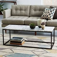 White Marble Top Coffee Table - Foter