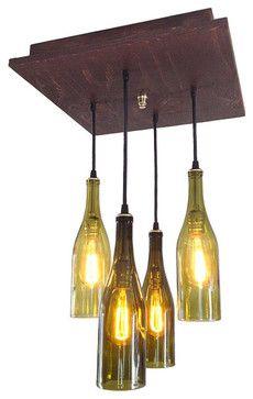 Mid Century Chandelier - Rustic Wine Bottle Lighting midcentury-chandeliers