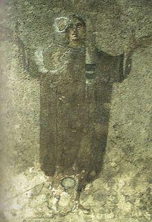 Orantka - fragment malowidła z cubiculum Velatio w katakumbach Pryscylli, koniec III wieku