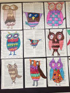 3rd grade Owls.   Apex Elementary Art