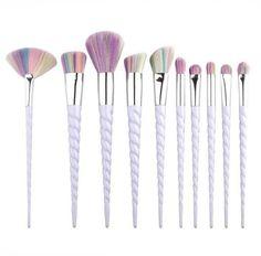 Face 10 Pcs Makeup Brushes Blusher Unicorn 1 Set Foundation Concealer Powder NEW Unicorn Horn Makeup Brushes, Eye Makeup Brushes, Face Makeup, Lipstick Brush, Contour Brush, Makeup Brush Set Amazon, Eyeliner, Cosmetic Sets, Tips Belleza