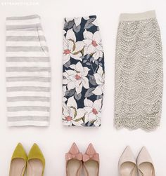 Dress: extra petite, blogger, petite, pointed toe, pointed toe flats, striped skirt, floral skirt, lace skirt, pencil skirt, patent shoes, bow shoes - Wheretoget