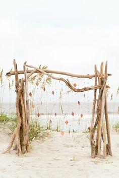 A modern driftwood beach ceremony arch with copper and seashells wedding ceremony Beach Wedding Arch Ideas Boho Beach Wedding, Beach Wedding Reception, Beach Wedding Inspiration, Romantic Beach, Beach Wedding Decorations, Wedding Ideas, Beach Weddings, Floral Wedding, Trendy Wedding