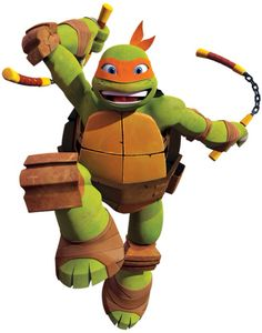 "Michelangelo or Mikey is the ""wild one"" of the Teenage Mutant Ninja Turtles. Though he possesses a ""child-like"" innocence, he always brings his best game to a fight. He fights with two nunchaku, which convert into kusarigama."