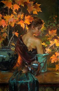 October Glow By Daniel F. Gerhartz  ( love the lady in his paintings )