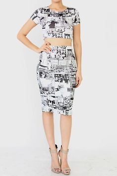 SHORT SLEEVE CROP TOP AND MIDI PENCIL SKIRT SET FEATURES GRAPHIC PRINT HIGH WAIST MIDI SKIRT MIDI SKIRT – BACK SLIT SHORT SLEEVES CROP TOP OCCASION CLUBWEAR CASUAL WEAR 90% POLYESTER, 10% SPANDEX