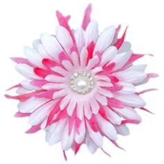 "Hot+Pink+Diamond+Pearl+Flower+Hair+Clip,+4.5"""