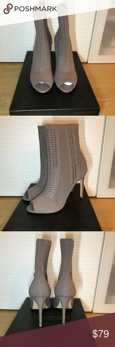 "Charles by Charles David Taupe Stretch Bootie Super Cute BRAND NEW Taupe Charles by Charles David perforated stretch knit bootie. 4"" covered heel; Open toe. Pull-on style. Smooth sole.   These are perfect for the fall can be paired with leggings, jeans or skirts and dresses.  Great for any fashionista's wardrobe.  Price is firm please bundle for discount which will be automatically applied on two or more items. Charles by Charles David Shoes Ankle Boots & Booties"