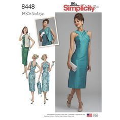 Get inspired with this 1950s dress. Misses' dress features cross-shoulder straps and princess seams. Vintage Simplicity sewing pattern.
