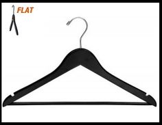 "CHW-52B  17\"" Black Wooden Clothing Suit Hangers w/ Pant Bar"
