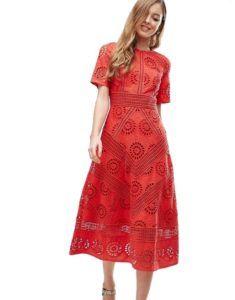 31e23ae53ee Нарядное платье - Красное платье с вышивкой ришелье Asos Collection Платья  Миди