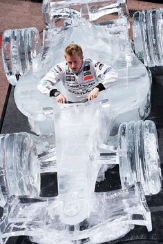If it weren't for the separate Kimi board, this easily would be classified under the Suomi board! Iceman Kimi Räikkönen in an ice formula car Grand Prix, Ice Car, Aryton Senna, Gp F1, The Iceman, Carros Premium, Snow Sculptures, Sand Sculpture, Snow Art