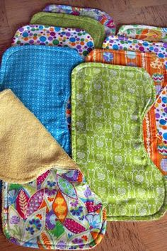 Burp rags using a towel instead of flannel. Very good idea.  She also has a great idea for a changing mat too!