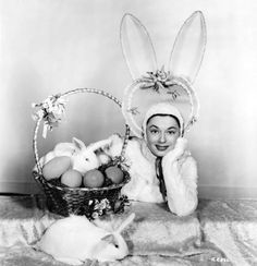 Ruth Roman doing a great Easter bunny impression, Easter Art, Easter Bunny, Easter Bonnets, Vintage Easter, Vintage Holiday, Ruth Roman, Chocolate Bunny, Easter Parade, Easter Celebration