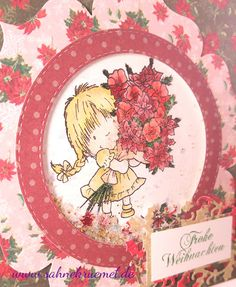 """Shakercard using """"Girl with Xmas Bouquet"""" from Wild Rose Studio; Designerpaper """"Winter Blooms"""" from Dovecraft; Sentiment """"Iris-istible""""; Frame die around sentiment out of the set """"Snow Frame"""" Wild Rose Studio; """"XXL Nest-lies Stitched Circles"""" Crealies; colored with TwinklingsH2O // Christmas greeting card"""