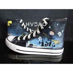 """""""Halloween Night"""" High-Top Canvas Sneakers ($34) ❤ liked on Polyvore featuring shoes, sneakers, black canvas sneakers, high top shoes, black high tops, hi top canvas sneakers and black hi tops"""
