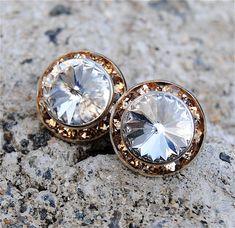 Diamond Bridal Earrings Bride Wedding Swarovski Crystal Diamond Dark Champagne Rhinestone Stud Earrings Mashugana