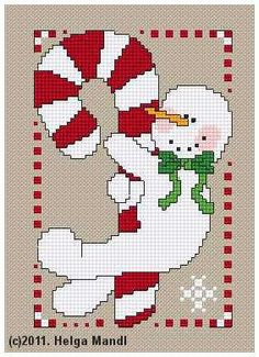 Candy Cane Snowman Helga Mandl Designs