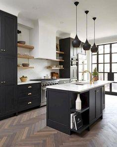Black and White Kitchen Ideas Unique 67 Stunning Black White Wood Kitchen Decor Ideas White Wood Kitchens, White Kitchen Decor, New Kitchen, Kitchen Wood, Kitchen Ideas, Kitchen Floors, Distressed Kitchen, Kitchen Rules, Stylish Kitchen