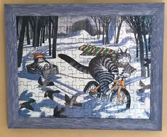 Kliban Cat On Bike Pulling Sled Professionally Framed Puzzle Picture Wall Art    eBay