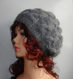 Hand Knit cable Hat beret women cable knit hat slouch by Ifonka, $28.00