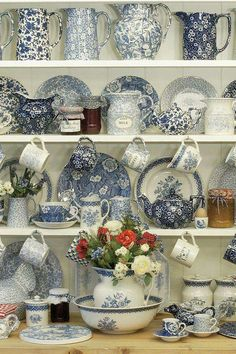 beautiful blue and white china, pitchers. crocks
