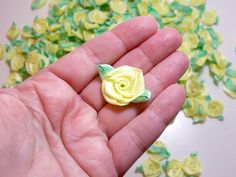 Items similar to Yellow Roses, Yellow Flower Appliques, Offray Flat Ribbon Rose Satin Flowers X 10 pieces, Maize Yellow and Mint Green on Etsy Bulk Ribbon, Ribbon Rose, Yellow Rose Flower, Yellow Flowers, Satin Flowers, Flower Petals, Carnations, Tulips, Delphinium