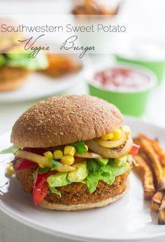 Southwestern Sweet Potato Veggie Burger {Vegan}