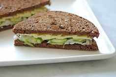 Cheddar Sandwich With Pickled Cucumbers And Sweet Onions