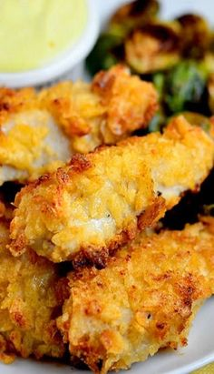 Potato Chip Chicken Fingers ~ lean chicken breast strips coated with crunchy chips then baked until golden brown and crispy. The flavor possibilities are endless!