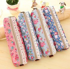 FD1361 Vintage Flora Flower Fabric Lace Cosmetic Stationery Pencil Bag Pouch 1pc