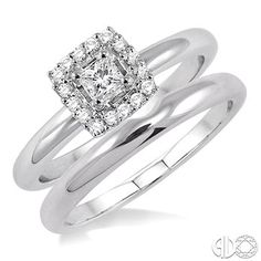 1/3 Ctw Diamond Wedding Set with 1/3 Ctw Princess Cut Engagement Ring and Matching Wedding Band in 14K White Gold