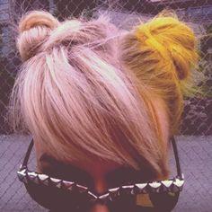Yellow hair. Cruella de Ville hair. Mickey Mouse ears. Grunge.