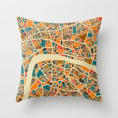 London Map Throw Pillow by Jazzberry Blue - $20.00