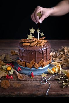 This vegan chocolate gingerbread layer cake is perfect for Christmas and a spectacular celebration cake any time of the year! Decorate with gingerbread cookies or pipe with extra frosting and sprinkle with edible gold glitter.