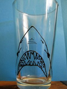 Shark Week Fan Beer Glass 3D Paint by itchyeyedesigns on Etsy, $15.00