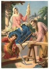 Holy family with the Blessed Mother spinning Religious Pictures, Jesus Pictures, Christian Images, Christian Art, Catholic Art, Religious Art, Image Jesus, Vintage Holy Cards, Mama Mary