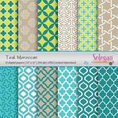 Teal Moroccan, Digital Paper, Scrapbooking, Paper, 12x12, Printable, Pattern, Arabic, Islamic, Middle Eastern, Eid, Background, Download by Selegan on Etsy