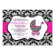 Chic Pink Polka Dot Damask Baby Shower Invite  $1.90