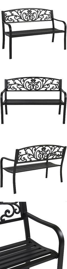 Benches 79678: Bcp 50 Patio Garden Bench Park Yard Outdoor Furniture Steel  Frame Porch Chair