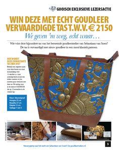 WIN! Deze met echt goudleer vervaardigde tas t.w.v. € 2150,- Een echte goude tas waar er maar vijf van zijn gemaakt (door Sebastiaan van Soest!), hoe #GOOISCH wil je het hebben?  Hoe doe je mee? Bedenk een originele naam voor deze beauty en stuur de inzending voor 15 oktober in naar actie@gooisch.nl met een reden waarom we jou moeten gaan verrassen met deze tas. De uitslag komt in de nieuwe GOOISCH te staan die op 19 november in de winkels ligt.