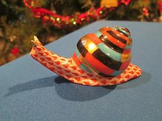Herend Hand Painted Porcelain  Figurine Snail Rust Fishnet Gold Accents.