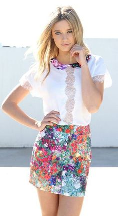 street style lace floral skirt
