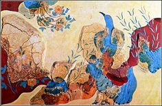 Blue birds frescoe from the Palace of Knossos. From the house of frescoes in the Palace of Knossos, a frescoe showing a bird among rocks, wild roses and irises.   The royal gardens of Knossos are depicted on this frescoe.   View the original frescoe in the Iraklion Museum