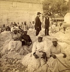 "A rare photograph of a group of women sitting on piles of cotton with two white male overseers. Entitled ""Freedom on the Plantation"" circa 1863-1866. Robin Stanford Collection, DeGolyer Library, Southern Methodist University."