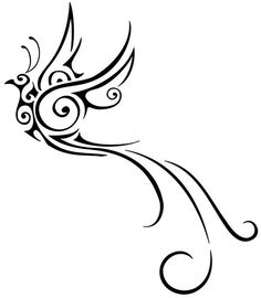 Birds of Paradise tattoo - looks like phoenix Tribal Bird Tattoos, Tribal Drawings, Bird Drawings, Tattoo Drawings, Tattoo Bird, Swirl Tattoo, Trendy Tattoos, New Tattoos, Small Tattoos
