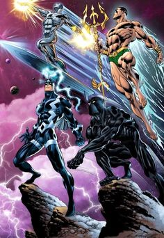 Four great Marvel characters. Silver Surfer, Namor, Black Bolt, and Black Panther. Marvel Dc Comics, Heros Comics, Marvel Comic Universe, Comics Universe, Marvel Vs, Comic Book Heroes, Anime Comics, Marvel Heroes, Black Bolt Marvel