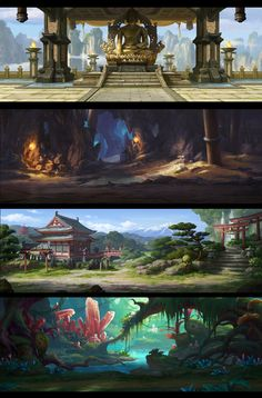 Four mobile game backgrounds by dawnpu