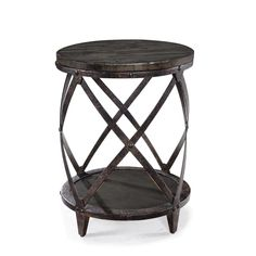 Milford Industrial Weathered Charcoal Wood and Metal Accent Table